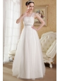 Perfect A-Line / Princess V-neck Brush Train Satin and Tulle Beading Wedding Dress