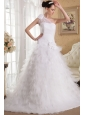 Exclusive A-line One Shoulder Chapel Train Satin and Organza Ruffles and Hand Made Flowers Wedding Dress
