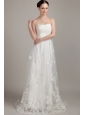 Wonderful Column/Sheath Strapless Brush/Sweep Lace Appliques Wedding Dress