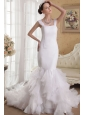 Romantic Mermaid Straps Court Train Satin and Organza Ruffles Wedding Dress