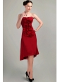 Wine Red Column / Sheath Strapless Asymmetrical Chiffon Bridesmaid Dress