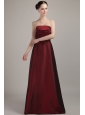 Wine Red Empire Strapless Floor-length Taffeta Bridesmaid Dress