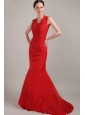 Wonderful Red Mermaid V-neck Brush Lace Prom Dress