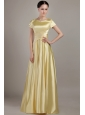 Light Yellow Empire Scoop Neck Floor-length Taffeta Beading Mother of the Bride Dress