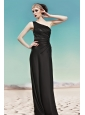 Black Column / Sheath One Shoulder Floor-length Elastic Woven Satin Beading Prom Dress