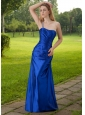 Blue Column One Shoulder Floor-length Taffeta Beading Prom Dress