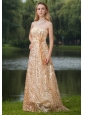 Gold Empire Strapless Floor-length Prom / Evening Dress