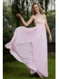 Pink Empire Sweetheart Floor-length Chiffon Beading Prom Dress