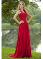 Red Empire Halter Brush Train Chiffon Ruch Prom Dress