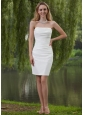 Simple Column / Sheath Strapless Mini-length Taffeta Wedding Dress