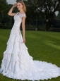 Modest A-line Off The Shoulder Court Train Taffeta Lace and Ruch Wedding Dress