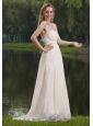 White Empire Strapless Brush / Sweep Chiffon Beading Prom Dress