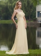 Light Yellow Empire One Shoulder Brush / Sweep Chiffon Ruch Prom Dress