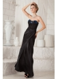 Black Column Sweetheart Ankle-length Taffeta Appliques Prom Dress