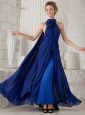 Royal Blue Column Halter Watteau Train Chiffon Ruch Prom / Evening Dress