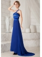 Blue Column One Shoulder Brush Train Chiffon and Taffeta Beading Prom Dress