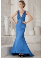Sky Blue Mermiad V-neck Brush Train Elastic Woven Satin Ruch Prom / Evening Dress