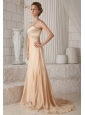 Champagne A-line / Princess Sweetheart Court Train Chiffon Beading Prom Dress