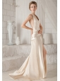 Champagne Sheath / Column Halter Court Train Satin Prom / Party Dress