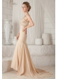 Champagne Trumpet / Mermaid Sweetheart Brush Train Chiffon Beading Prom Dress