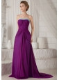 Eggplant Purple Empire Strapless Brush Chiffon Ruch Bridesmaid Dress