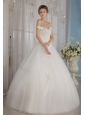 Fashionable Ball Gown Off The Shoulder Floor-length Tulle Beading Wedding Dress