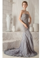 Grey Trumpet / Mermaid Sweetheart Court Train Chiffon Ruch Prom Dress