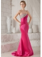 Hot Pink Trumpet / Mermaid Strapless Brush Train Elastic Woven Satin Beading Prom / Pageant Dress