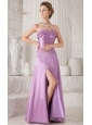 Lavender Column Sweetheart Floor-length Satin Ruch Bridesmaid Dress