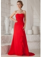 Red A-Line / Princess Strapless Court Train Chiffon Ruch Bridesmaid Dress