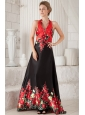 Red and Black A-line / Princess Halter Brush Train Printing Beading Prom / Evening Dress