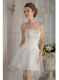 Sweet A-Line / Princess Strapless Mini-length Tulle Beading Wedding Dress