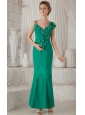 Turquoise Column / Sheath Asymmetrical Ankle-length Chiffon Hand Made Flowers Mother of the Bride Dress