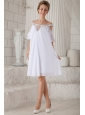 White Empire Off The Shoulder Knee-length Chiffon Beading Prom Dress