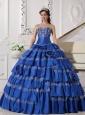 Elegant Blue Quinceanera Dress Sweetheart Taffeta Embroidery Ball Gown