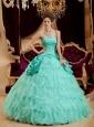 Affordable Apple Green Quinceanera Dress Strapless Ruffles Taffeta and Organza Ball Gown