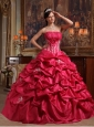 Affordable Coral Red Quinceanera Dress Strapless Appliques Taffeta Ball Gown