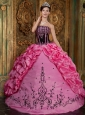Affordable Rose Pink Quinceanera Dress Strapless Embroidery Taffeta Ball Gown