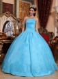 Aqua Blue Quinceanera Dress Strapless Organza Appliques Ball Gown