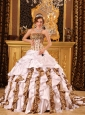 Beautiful Gorgeous Quinceanera Dress Strapless Brush Train Taffeta and Leopard White Ball Gown