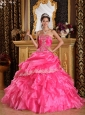 Beautiful Hot Pink Quinceanera Dress Strapless Organza Ball Gown