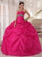 Beautiful Hot Pink Quinceanera Dress Sweetheart Organza Appliques Ball Gown