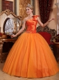 Beautiful Orange Quinceanera Dress One Shoulder Tulle Beading Ball Gown