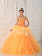 Beautiful Orange Quinceanera Dress Sweetheart Satin and Tulle Beading A-Line / Princess