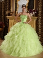 Beautiful Yellow Green Quinceanera Dress Strapless Satin and Organza Embroidery with Beading Ball Gown