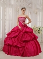 Best Coral Red Quinceanera Dress Strapless Taffeta Beading Ball Gown