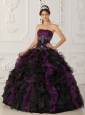 Brand New Purple and Black  Quinceanera Dress Strapless Taffeta and Organza Beading Ball Gown
