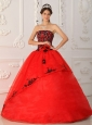 Brand New Red Quinceanera Dress Strapless Satin and Organza Ball Gown