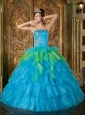 Cheap Blue Quinceanera Dress Strapless Organza Ruffles Ball Gown