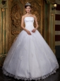 Cheap White Quinceanera Dress Strapless Satin and Tulle Lace Ball Gown